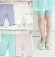 Wholesale Cool Girls Leggings - 2016 new Children girl cool color breathable cotton five short pants Leggings trousers 4 color kz37