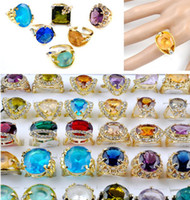 Wholesale costume jewelry rings wholesale - Hot Sale Alloy Imitation Zircon Gold Plated Costume Ring Jewelry Wedding Rings Mixed 25pcs lot [CZ06*25]