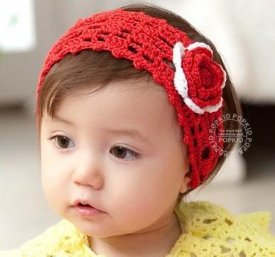 Großhandel Hot Candy Farbe Häkeln Stirnbänder Baby Mädchen Rose ...