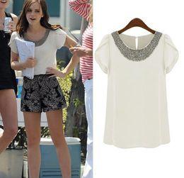 Wholesale Europe Blouse - Hot Europe Fashion Women's Tops Beads Collar Ruffled Short Sleeve Chiffon Blouse C2521