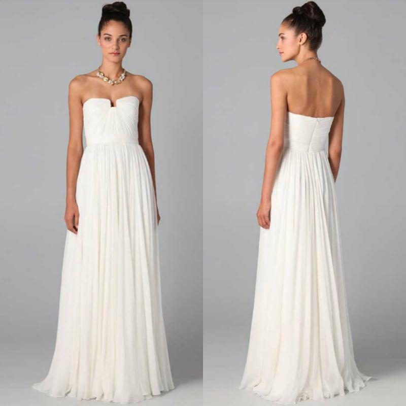 2015 Simple Style Dresses Long White Dresses Pleated Bodice Floor ...