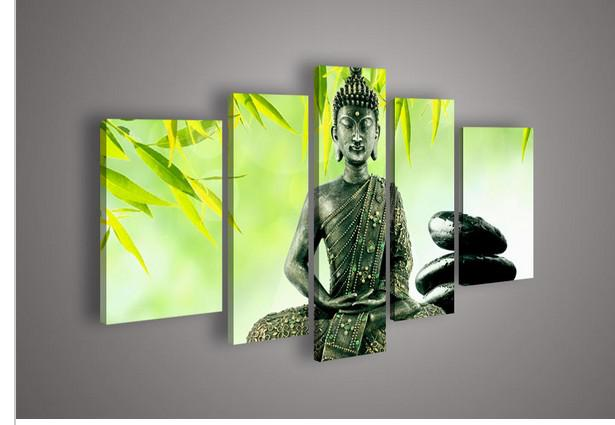 5 Panel Wall Art 2017 5 panel wall art religion buddha green oil painting on canvas
