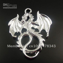 Wholesale Dragon 35 - Silver Tone Alloy Flying Dragon Pendant Fashion Charm 35*28*2mm 24pcs