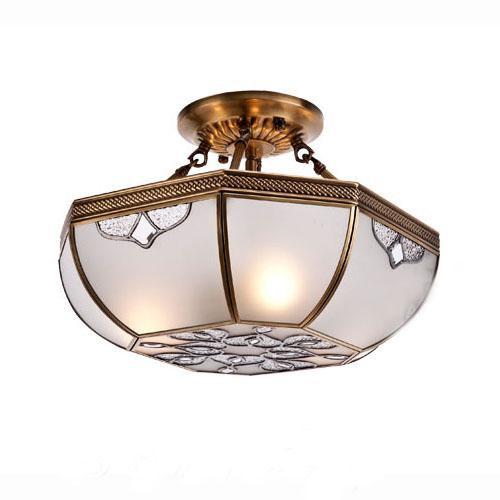 Best 16 Vintage European Copper Living Room Chandeliers Octagon Glass Lampshade Bedroom Ceiling Lamps Dining Restaurant Lights Under 28141