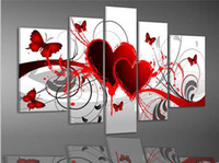 Wholesale Butterfly Canvas Wall Art - 5 piece group wall art Free Shipping Red Heart Love Butterfly Oil painting On Canvas Art Deco for home decoration