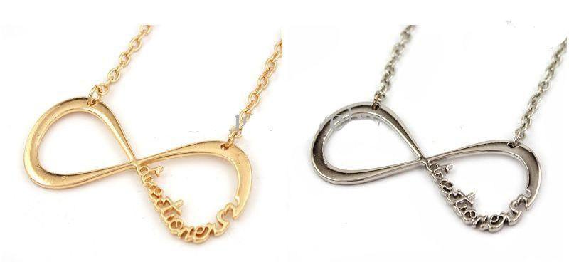 Hot-selling aleación moda oro plata cobre One Direction Nnecklace 1D Directioner collar infinito