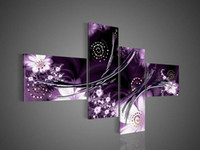 Wholesale Purple Oil Painting Canvas - 4 Piece Art Modern Abstract Fantasia Purple Oil Painting On Canvas Paintings