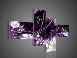 Wholesale Purple Abstract - 4 Piece Art Modern Abstract Fantasia Purple Oil Painting On Canvas Paintings