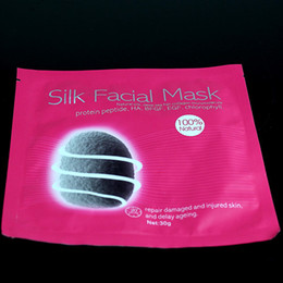 Wholesale Wholesale Natural Facial Masks - Silk Facial Mask 5pcs lot Natural Silk Deep Sea Fish Collagen Micromolecule Repair Damaged Injured Skin Delay Ageing 30g v line Face Mask