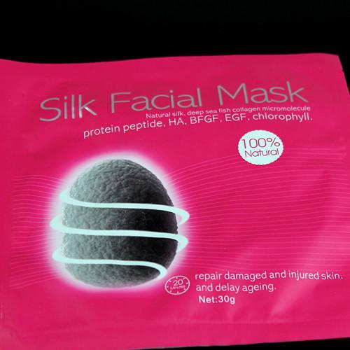 Máscara facial de seda / Seda natural Pescado de mar profundo Reparación de micromoléculas de colágeno Daño Daño de la piel lesionada Envejecimiento 30g v line Mascarilla