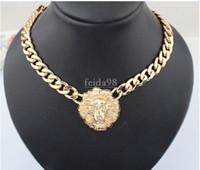 ingrosso collana di proiettile del rhinestone-Spedizione gratuita grande collana in oro per le donne testa di animale collane moda oro massiccio catena donne d'oro