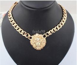 Animali da nave online-Spedizione gratuita grande collana in oro per le donne testa di animale collane moda oro massiccio catena donne d'oro