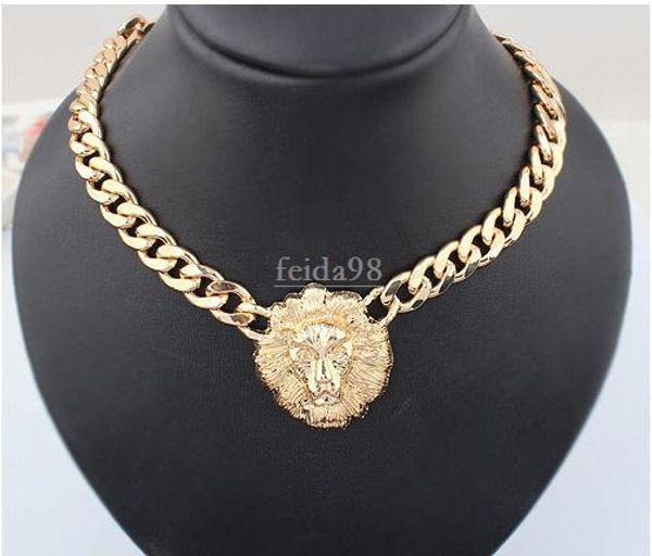 Envío gratis gran collar de oro para las mujeres cabeza animal collares moda oro cadena chunky oro mujeres