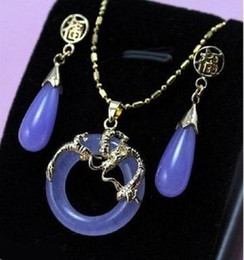 Wholesale Light Blue Necklace Cheap - Wholesale cheap charming jade bless pendant earring silver dragon set