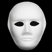 Wholesale Painted Paper Art - Unpainted Men Blank White Masks Full Face Environmental Paper Pulp Masks DIY Fine Art Painting Masks Net weight 40g 10pcs lot Free