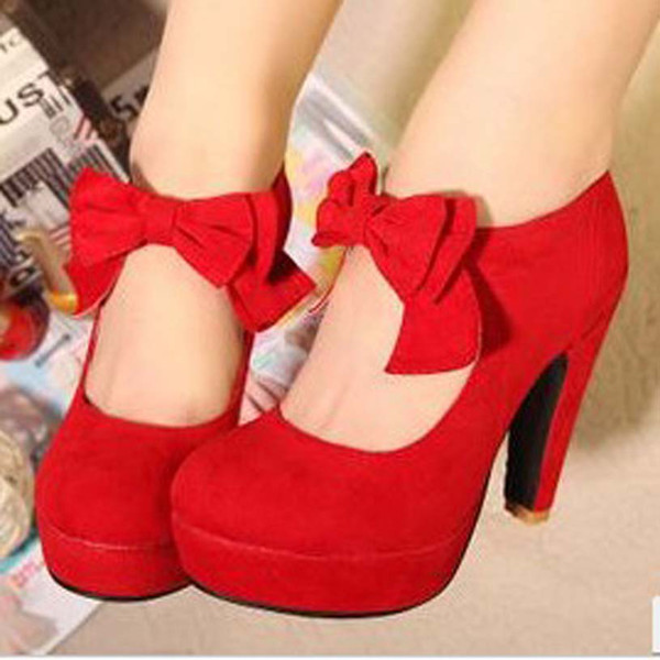 top popular 2019 red wedding shoes female high-heeled thick heel platform bow round toe fashion velvet shoes 2019