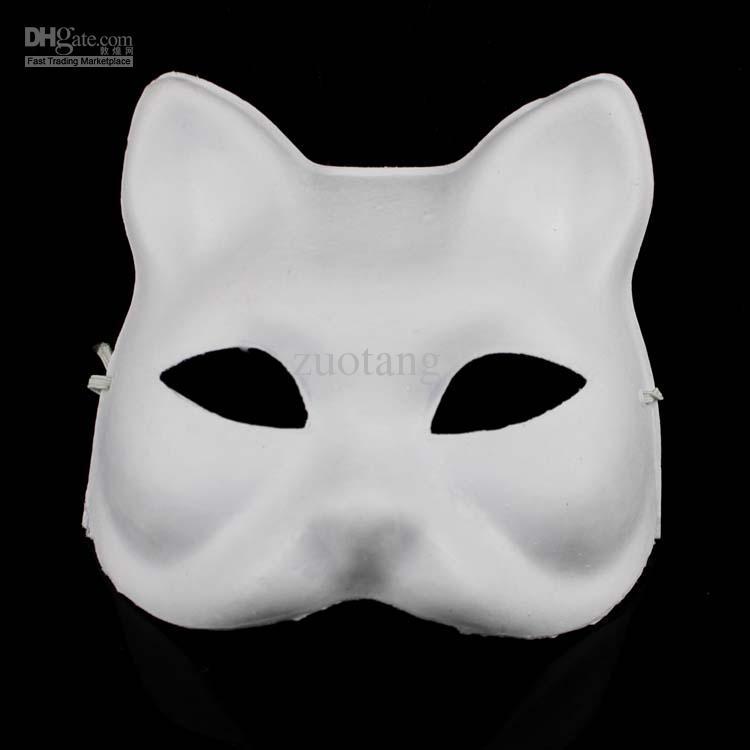 Unpainted Leg White Paper Pulp Kat Mask voor Vrouwen Milieu DIY Fine Art Schilderen Programma's Masquerade Party Half Mask /