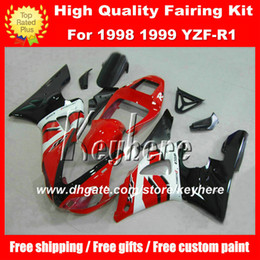 Wholesale 99 Yamaha R1 Plastics - Customize ABS Plastic fairing kit for Yamaha YZF R1 1998 1999 YZFR1 1998 1999 YZF-R1 98 99 fairings G4e new black white red motorcycle parts