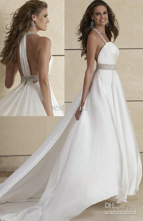 Discount Crystal Halter Backless Wedding Dresses 2016 A ...Halter Top Backless Wedding Dresses