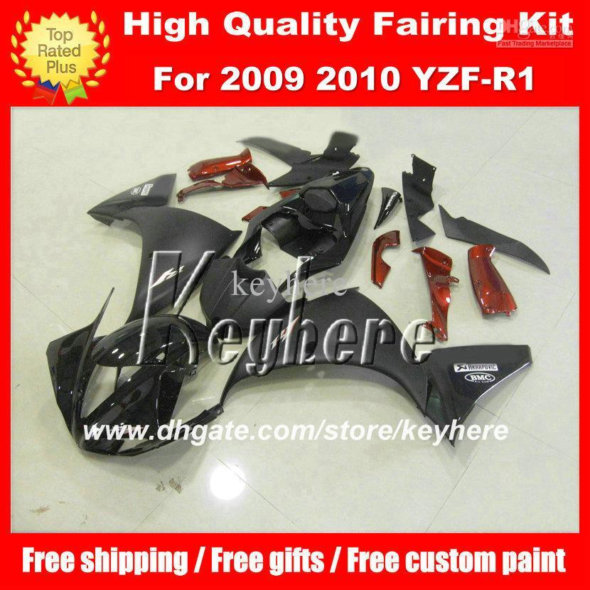 Kit parabrezza in plastica ABS YAMAHA YZFR1 2009 2010 2011 YZF R1 YZF-R1 09 10 11 YZF1000 G2b nero lucido nero parti metalliche motocicli