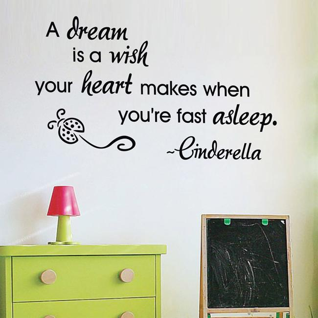 New Listing A Dream Is A Wish Wall Quotes Vinyl Wall Stickers 45x75cm Wall  Art Stickers Living Room Wall Decor Decals Stickers For Walls Decals Wall  From ...