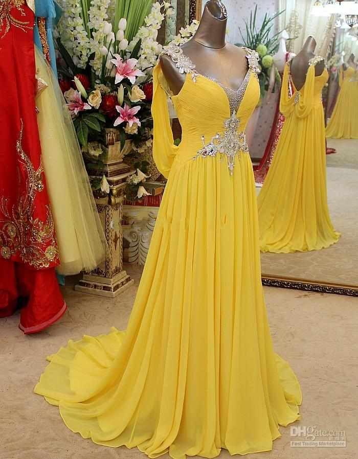 Compre Los Vestidos De Partido Amarillos Largos De La Gasa De Los Vestidos De Partido Del V Cuello De La Muestra Rizan El Vestido Backless Atractivo