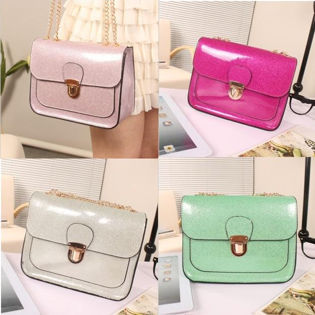 New Womens Satchels Bags Flashing Silicon Jelly Totes Handbag ...