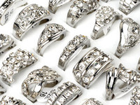 Wholesale Cz Fashion Jewellery - Brand New Jewlery Rings Fashion Jewelry 15pcs lot CZ Rhinestone Wedding Engagement Ring Fashion Rings Jewellery [CZ48*15]