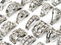 Wholesale Wholesale Jewlery Settings - Brand New Jewlery Rings Fashion Jewelry 15pcs lot CZ Rhinestone Wedding Engagement Ring Fashion Rings Jewellery [CZ48*15]