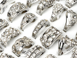 Wholesale Rhinestone Wedding Jewellery - Brand New Jewlery Rings Fashion Jewelry 15pcs lot CZ Rhinestone Wedding Engagement Ring Fashion Rings Jewellery [CZ48*15]