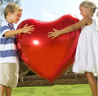 Wholesale Hot Balloon Heart - 36inch Red Heart Foil Balloons Hot Sale for Wedding photography Big Size Balloons Romantic for Proposal and toys for kids Good Quality