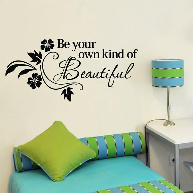 38x80cm Be Own Kind Of Beautiful Wall Art Stickers Living Room Wall Quotes  Decals Home Wall Decor