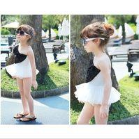 Wholesale Summer Baby Girl Bathing Suits - Fashion Summer Baby Girls black white Gaga style large Butterfly swimwear swimsuit bathing suit+bow cap 0081