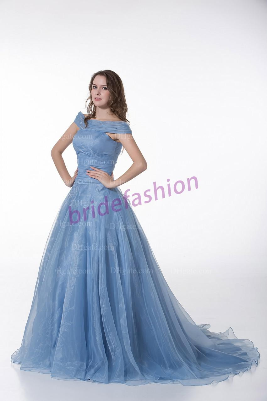 So Partysu!!2013 New Arrival Simple Off-The-Shoulder Ball Gown Ruffle Custom Made Organza Prom Quinceanera Dresses