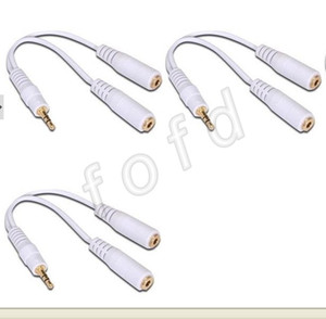 3.5mm Headphone Earphone Y 2 Splitter Adapter Cable Jack   One 3.5 mm stereo male plug to two 3.5 mm female jack cable 500pcs  lot