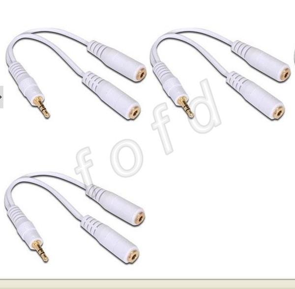 3.5mm casque écouteur Y 2 séparateur câble adaptateur / une fiche mâle stéréo 3,5 mm à deux câble jack 3,5 mm femelle 500pcs / lot