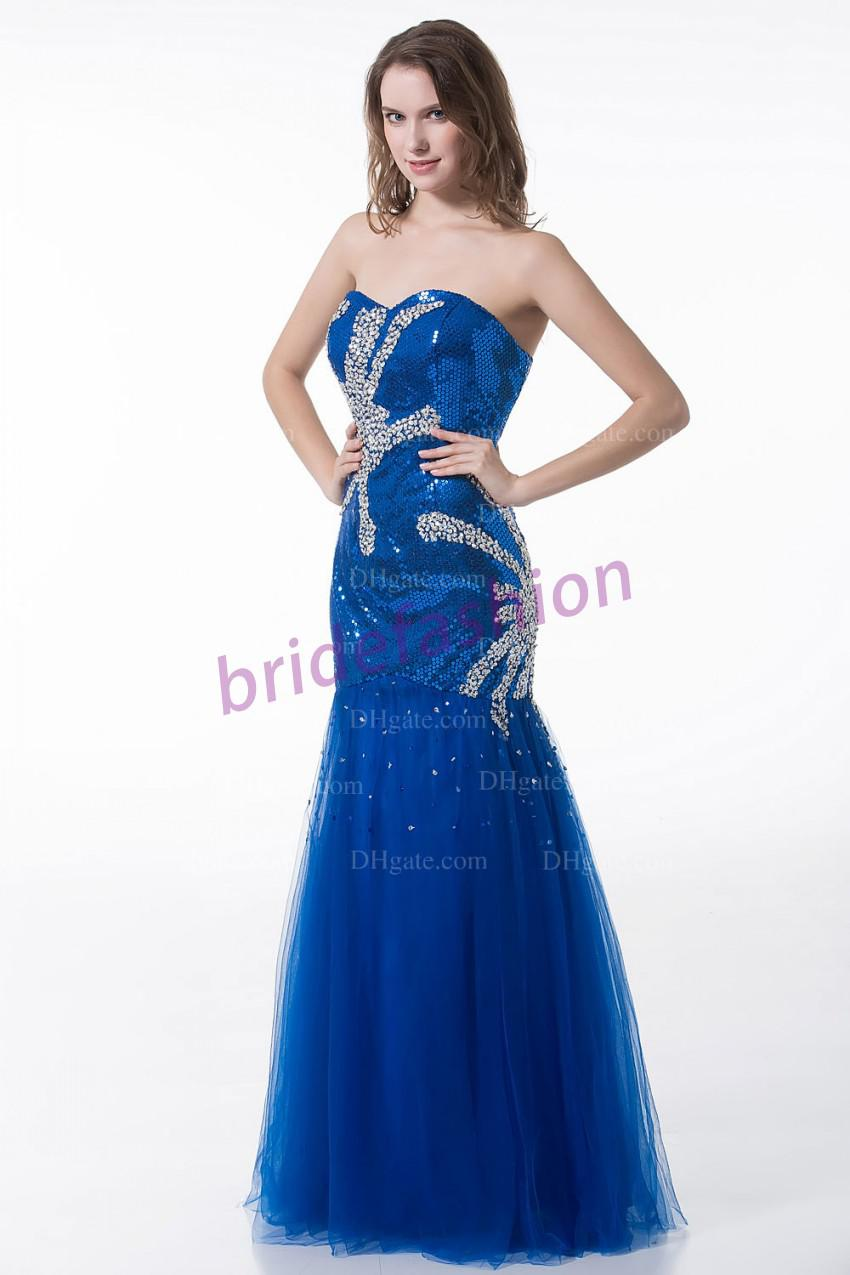 Amazing!!2013 New Fashion Shining Sweetheart Mermaid Sequin Crystal Beads Custom Made Tulle Prom Evening Dresses