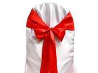 красные банкетные стулья оптовых-50 шт. Красный атласный пояс стул лук свадьба банкетный украшения мерцающий выбрать цвет новый