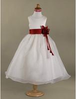 organza kanat satışı toptan satış-2013 En İyi Satış Lovery A-line Scoop Kırmızı Kanat Kat-uzunluk Saten Organze Çiçek Kız Elbise 010