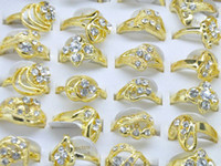 Wholesale Classic Costume Jewelry Wholesale - Jewelry Lots Mix 10Pcs Cubic Zirconia Classic Golden Rings Jewelry Costume Rings Fashion Finger Rings Jewelry [CZ51*10]