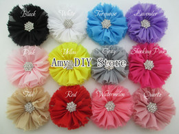 Wholesale shabby chic flower bow wholesale - baby Vintage Chiffon Flower Shabby Flower With hair clips Metal Crystal Center Flat Back DIY shabby chic Flowers -50pcs HH025+GZ010+4.5CM