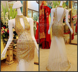 Wholesale Evening Dresses Crystal Tulle Transparent - 2013 A-line Sexy backless evening dresses transparent amazing V neck Prom Dresses tb002