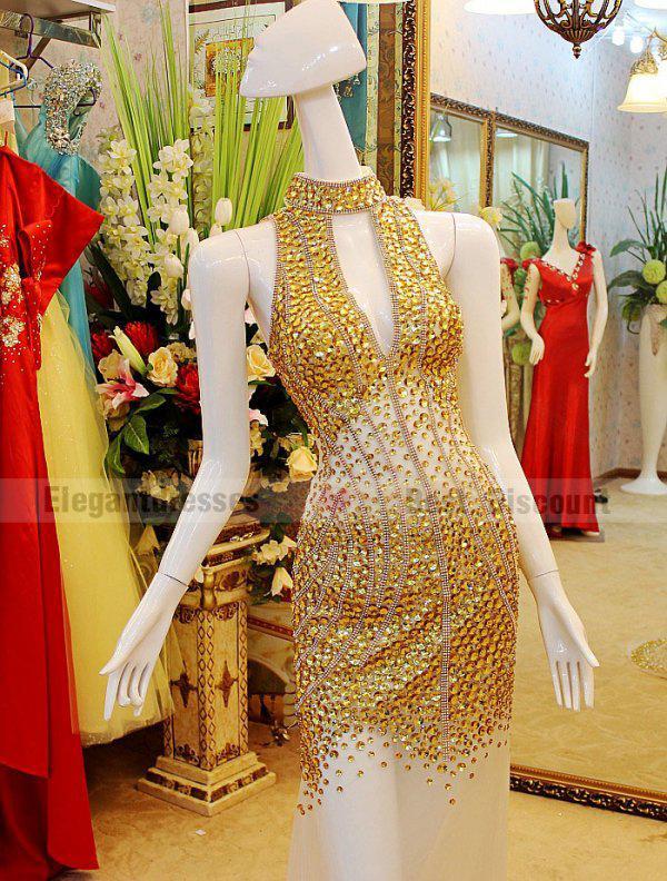 2019 A-line Sexy abiti da sera backless trasparente incredibile scollo a V Prom Dresses tb002