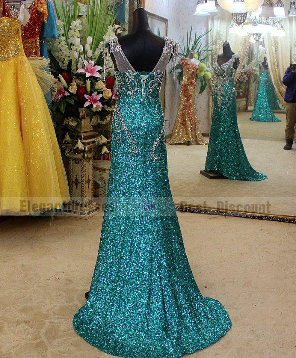 Goedkoopste jurk 2019 A-lijn Sexy Prachtige Crystal Avondjurken Sweep Trein Geweldige V-hals Prom Dresses TB004
