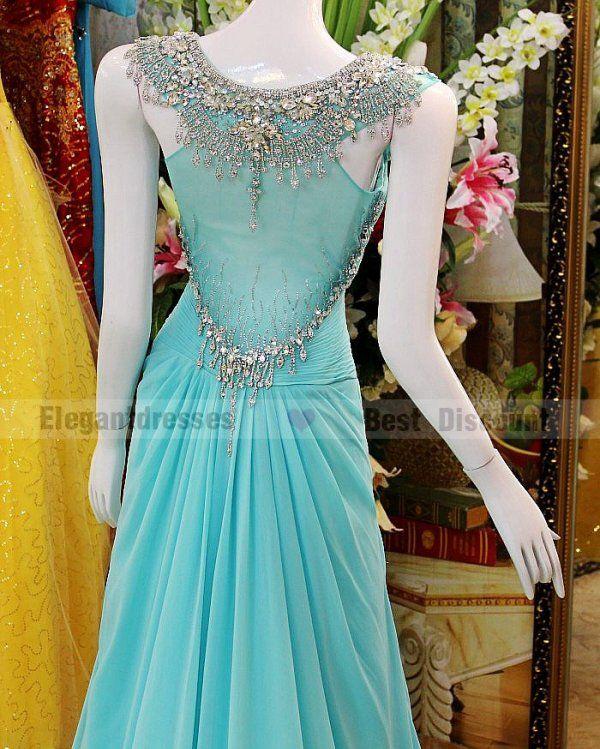 Vestido mais barato 2016 A linha Sexy lindo cristal noite vestidos de trem de varredura incrível chiffon Prom Vestidos tb006