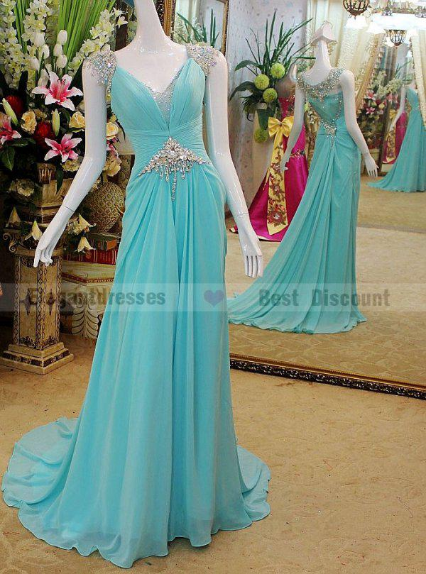 Goedkoopste jurk 2016 A-lijn Sexy Prachtige Crystal Avondjurken Sweep Trein Verbazingwekkende Chiffon Prom Dresses TB006