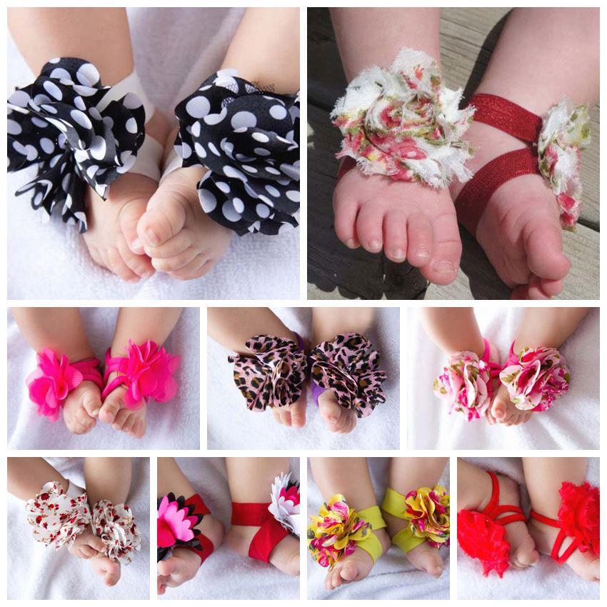 10 paires = 20 pcs Mode Pied Fleur De Pieds Pieds Pieds Bande Bébé Chaussure Fleur Cravates Pieds Nus Chaussettes Chaussures Fleurs