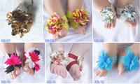 Wholesale Toe Bloom Socks - 15 pairs = 30 pcs Top baby Barefoot Socks Sandals Shoes Flowers Feet Toes Baby Blooms FOOT WRAPS FLOWER FEET 24 styles