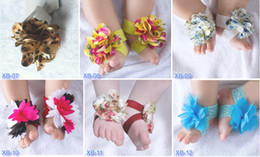 Wholesale Shoes Style Girl Feet - 15 pairs = 30 pcs Top baby Barefoot Socks Sandals Shoes Flowers Feet Toes Baby Blooms FOOT WRAPS FLOWER FEET 24 styles