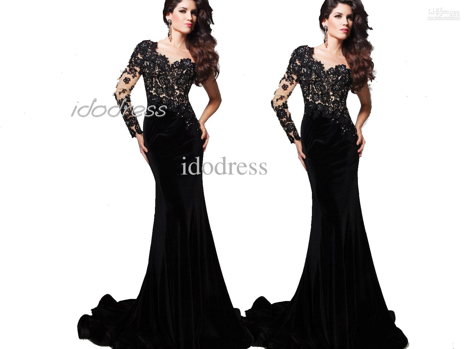 One Shoulder Black Lace Prom Dress 2013 New Fashion Sheath Satin ...